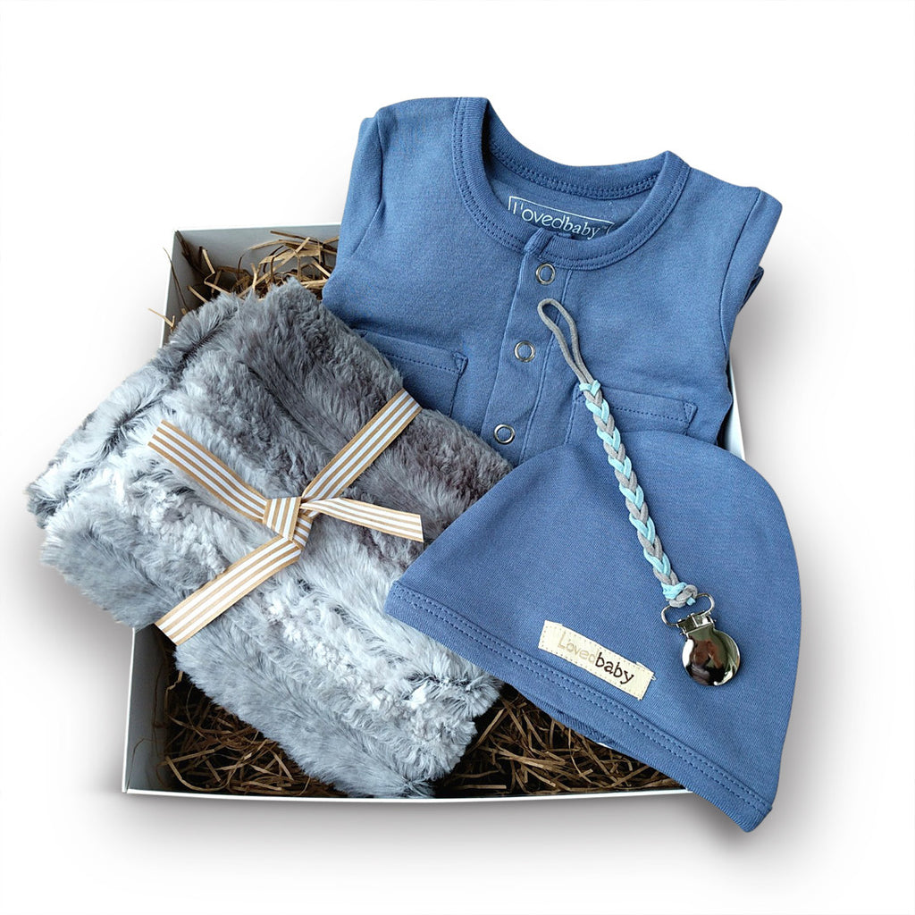 Luxury blue and grey new baby boy gift box set, perfect for baby shower gift