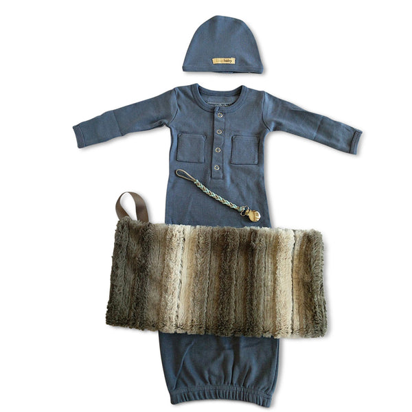 organic cotton L'oved Baby dusky blue baby boy gown and hat set, minky blanket & more baby gift set