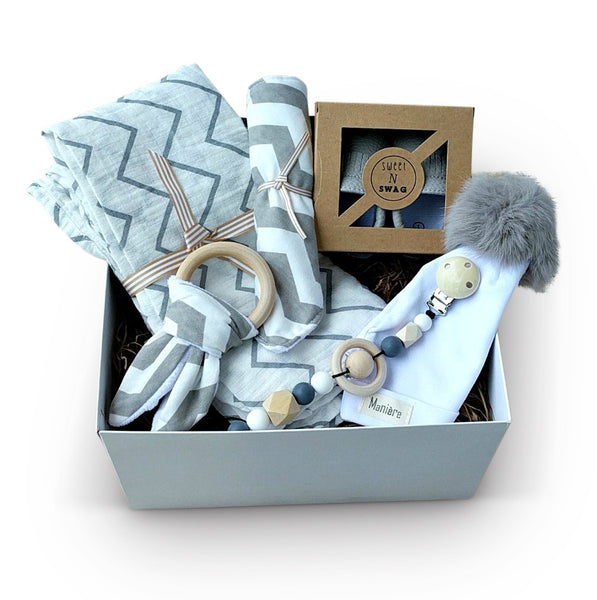 modern grey and white chevron baby gift set, pom pom hat, baby moccasins