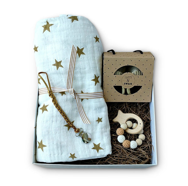 Gold & Cream Gender Neutral Baby Gift Set
