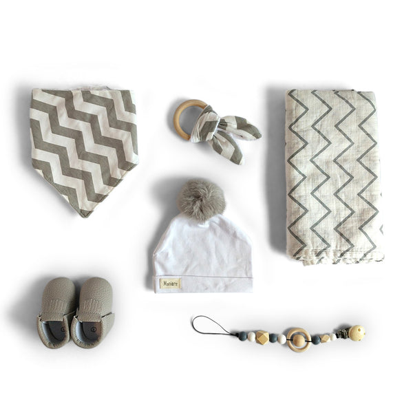 contemporary gray and white chevron baby shower gift, bandana bib, muslin swaddle, pom pom hat