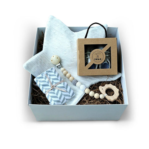 Grey & cream gender neutral luxury baby gift box for baby shower gift