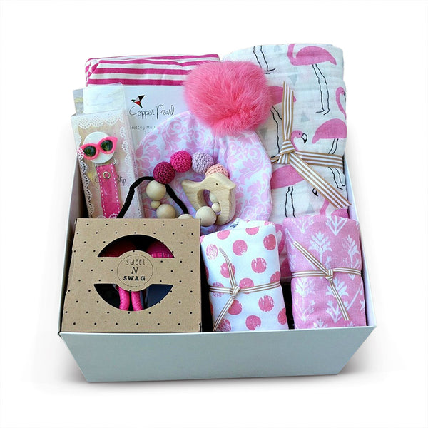 hot pink baby girl gift box set