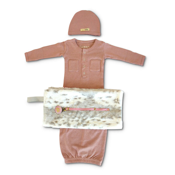 Perfect new baby girl gift set - includes L'oved Baby Organic Cotton mauve baby gown & baby hat