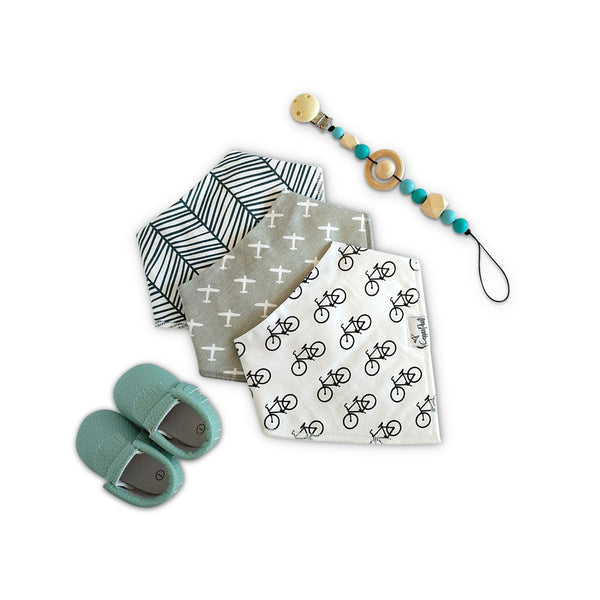 Baby Shower gift set with cotton bandana bibs, baby moccasins & pacifier clip