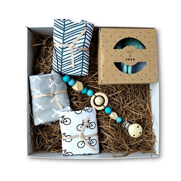 New baby gift set with cotton bandana bibs, baby moccasins & pacifier clip