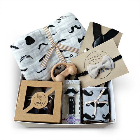 mustache baby shower gift for boys with muslin swaddle, bow-tie, baby moccasins, car, bandanna bib