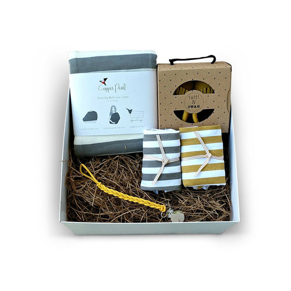 Modern grey and yellow unisex new baby gift box for baby shower gift
