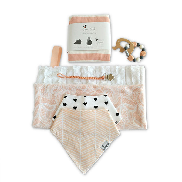 New baby girl gift set: peach minky blanket, cotton bandanna bibs, car seat cover, elephant teether