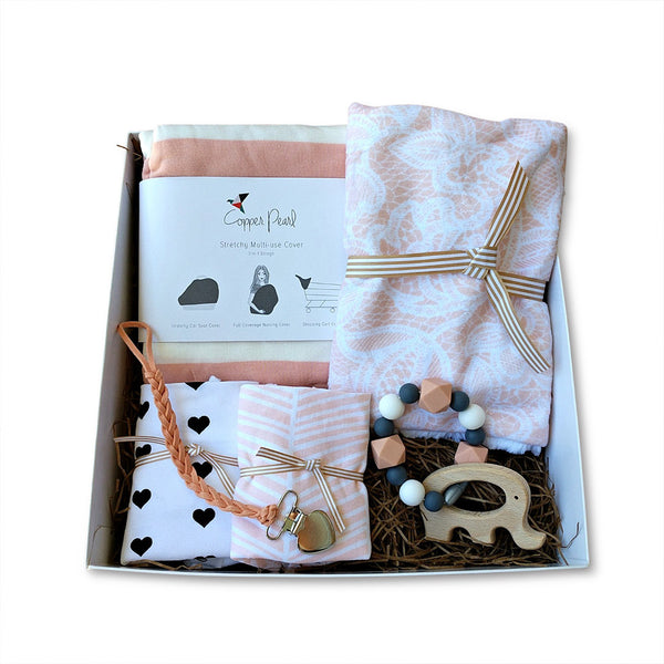 Curated new baby girl gift box set in peach - elephant teether, car set cover, bandana bibs, blanket