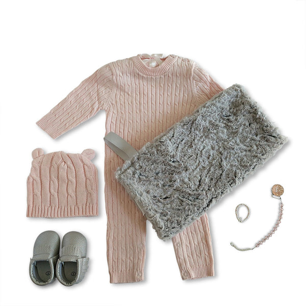Luxury pink and grey new baby gift set - perfect for corporate baby gift