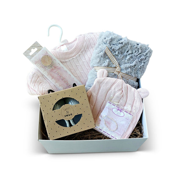 Curated pink and silver baby gift box set for new baby in pink and silver