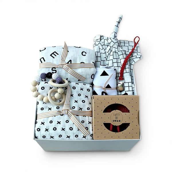 Modern monochromatic unisex baby gift box set for baby shower gift or company group gift