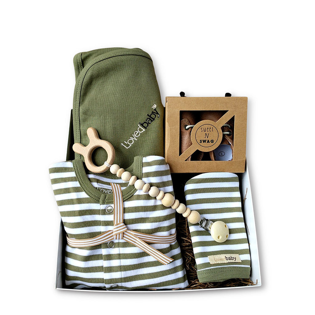 L'oved Baby, organic cotton baby boy shower gift or new baby gift in sage green