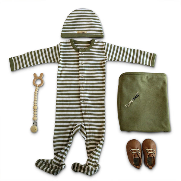 Sage green organic cotton L'oved Baby New Baby Boy Layette Gift Set