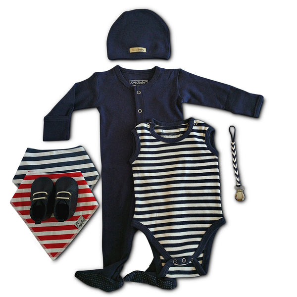 Navy Blue Layette gift set for New Baby or baby shower gift