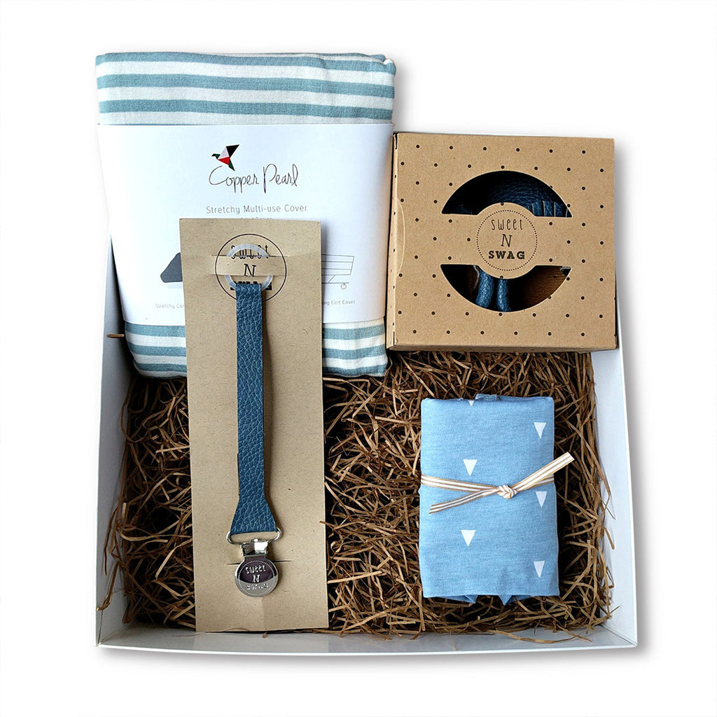 Curated, ready to gift new baby boy gift box set for baby shower gift