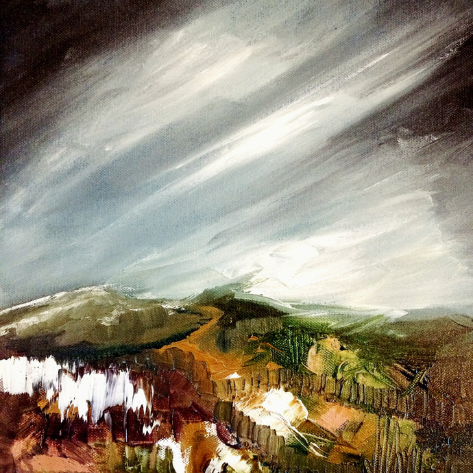 Dark Skies Over Heathland Landscape painting on canvas, by Sally Marie Gardner