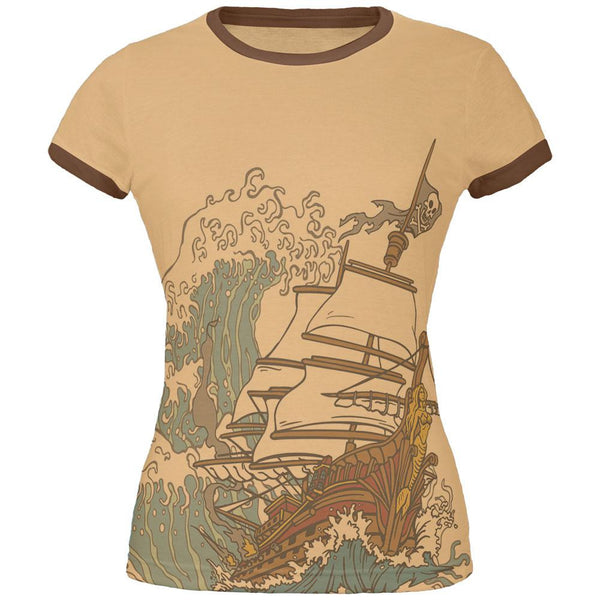 Pirate Ship Wave Juniors Soft Ringer T Shirt
