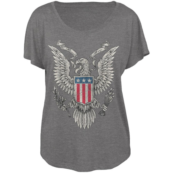 4th of July Born Free Distressed Vintage Eagle Juniors Dolman T Shirt