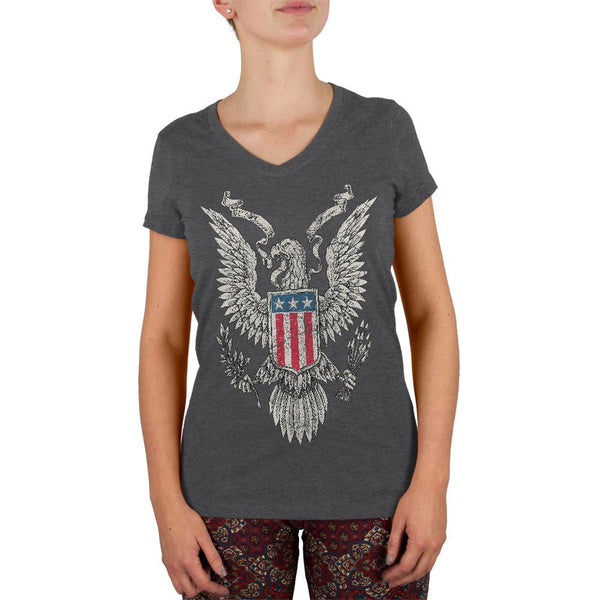 4th of July Born Free Distressed Vintage Eagle Juniors V-Neck T Shirt