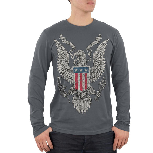 4th of July Born Free Distressed Vintage Eagle Mens Soft Long Sleeve T Shirt