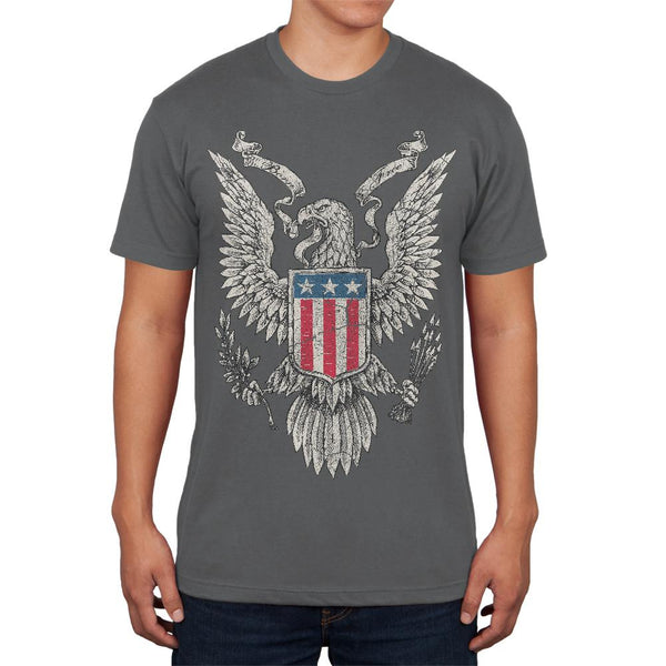 4th of July Born Free Distressed Vintage Eagle Mens Soft T Shirt