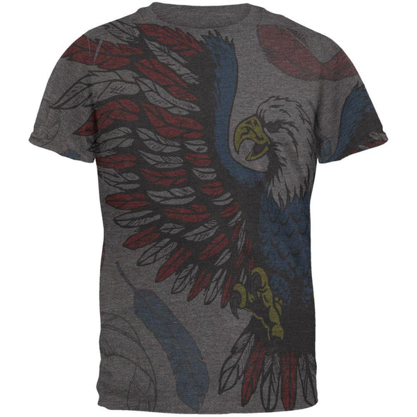 4th of July Patriotic Eagle Feathers All Over Mens Soft T Shirt