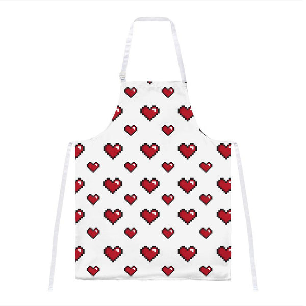 8 Bit Hearts All Over Apron