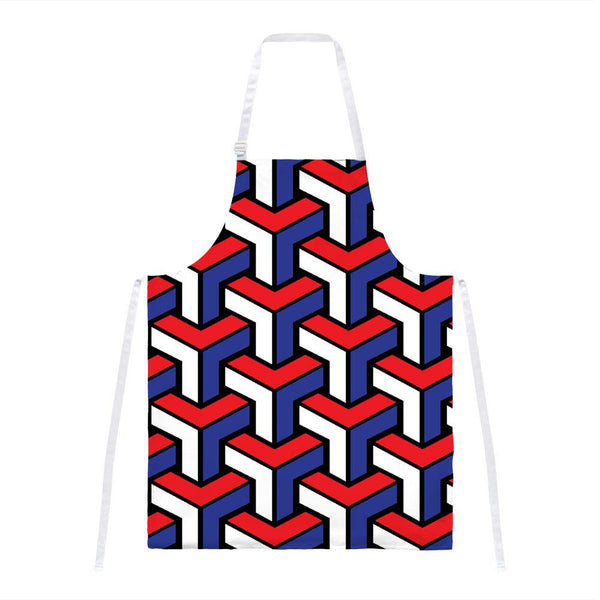4th of July 3D Red White & Blue Blocks All Over Apron