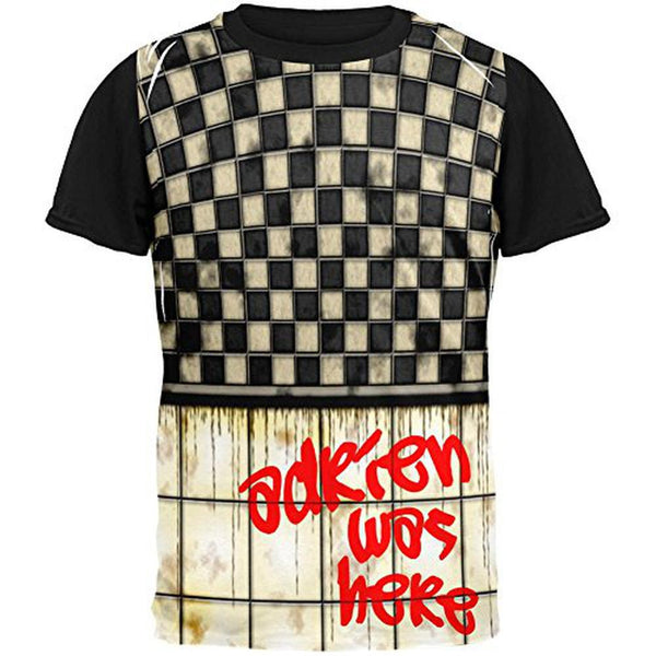 Adrien Was Here Graffiti All Over Mens Black Back T Shirt