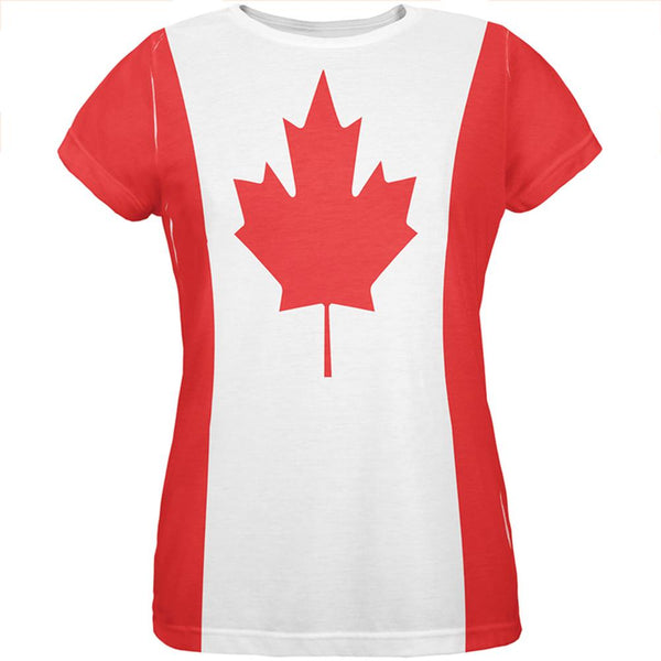 Canadian Canada Flag All Over Womens T Shirt
