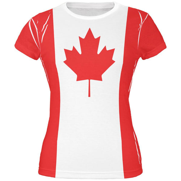 Canadian Canada Flag All Over Juniors T Shirt