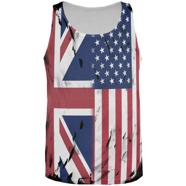 British UK American USA Flag All Over Mens Tank Top