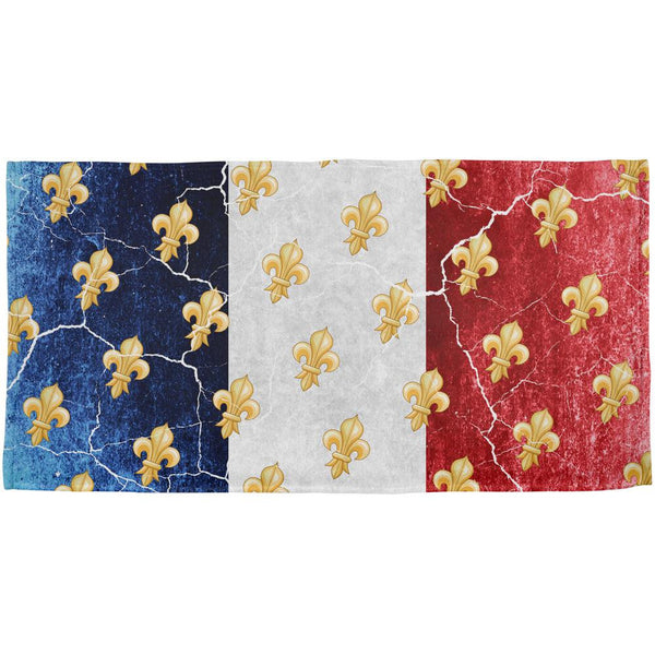 French Flag Grunge Distressed Fleur De Lis All Over Beach Towel