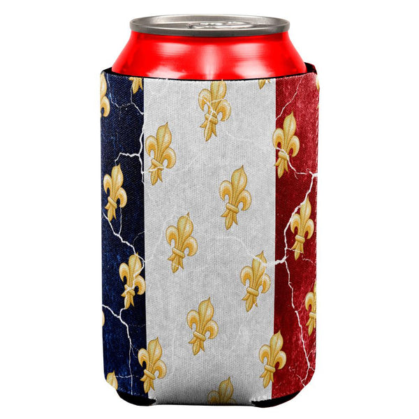French Flag Grunge Distressed Fleur De Lis All Over Can Cooler