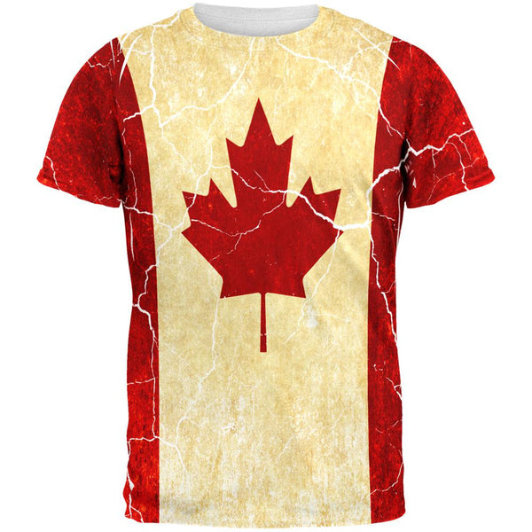 Canadian Flag Grunge Distressed All Over Mens T Shirt