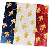 French Flag Grunge Distressed Fleur De Lis Square Sandstone Coaster