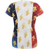 French Flag Grunge Distressed Fleur De Lis All Over Womens T Shirt