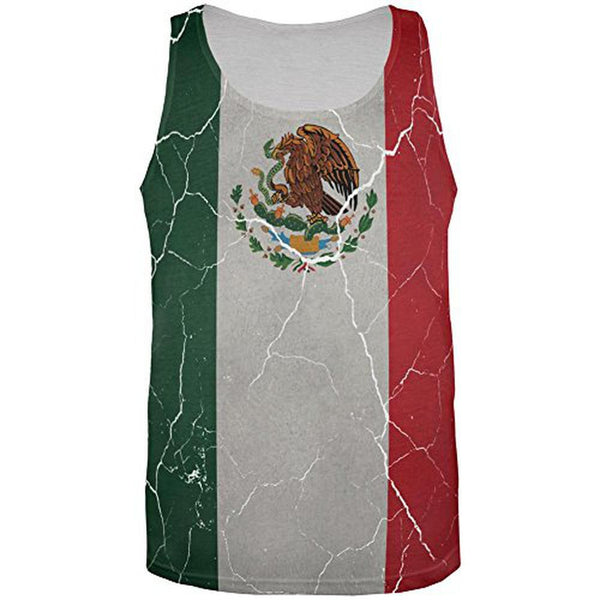 Cinco De Mayo Distressed Mexican Flag All Over Mens Tank Top