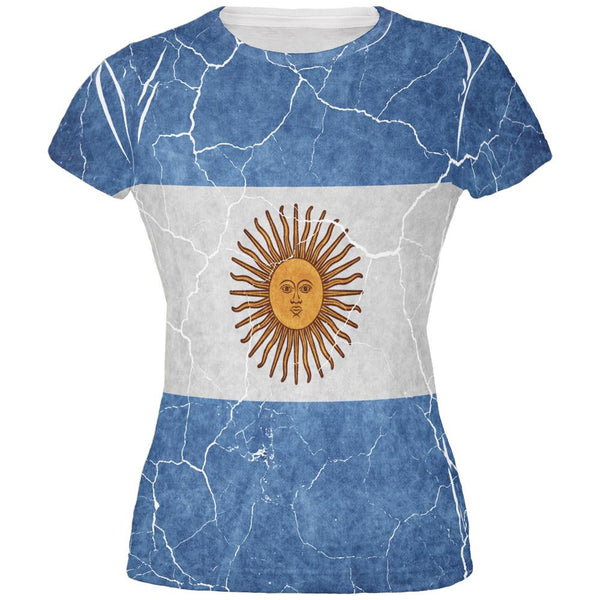 Distressed Argentina Flag All Over Juniors T Shirt