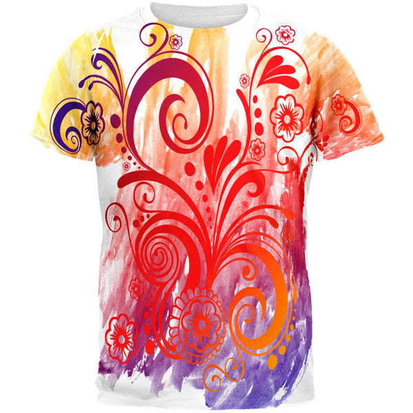 Henna Rainbow Watercolor Paint Swirls All Over Mens T Shirt