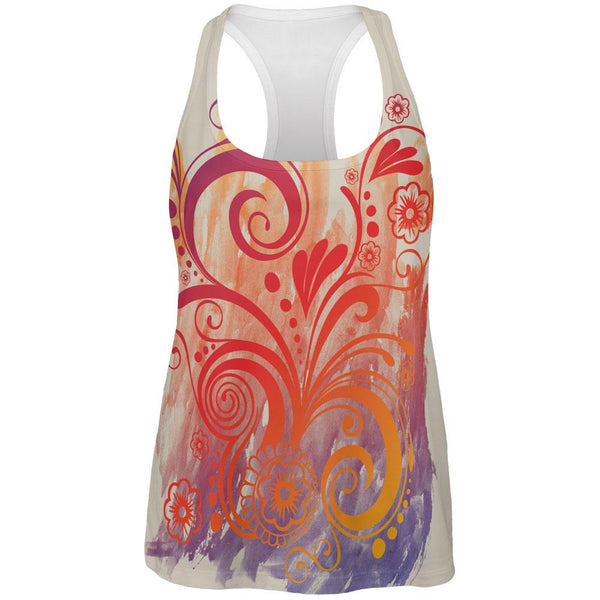 Henna Rainbow Watercolor Paint Swirls All Over Womens Work Out Tank Top