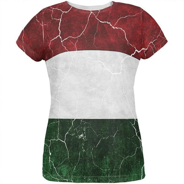 Distressed Hungarian Flag All Over Womens T Shirt