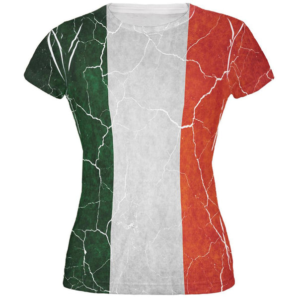 Distressed Irish Flag All Over Juniors T Shirt