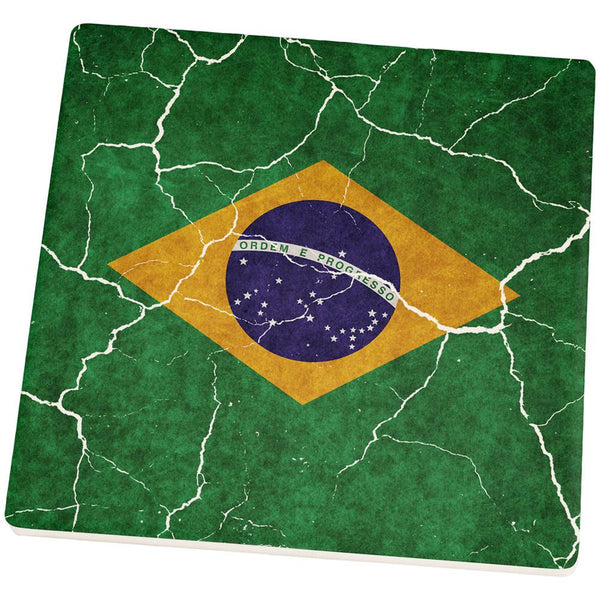 Distressed Brazilian Flag Square Sandstone Coaster