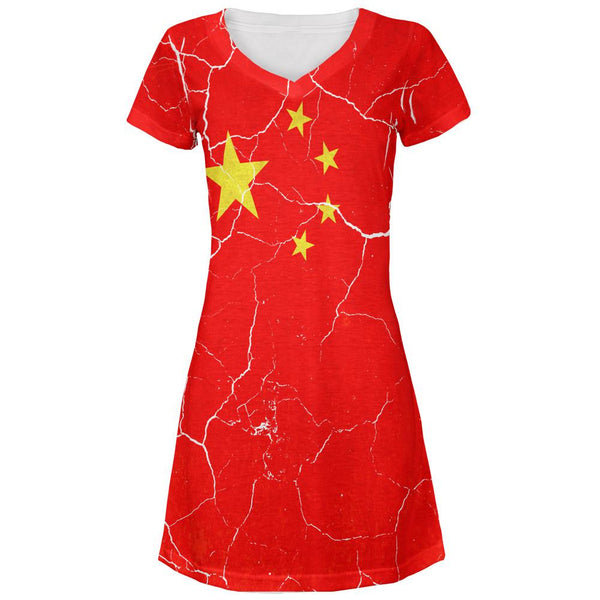 Distressed Chinese Flag All Over Juniors V-Neck Dress