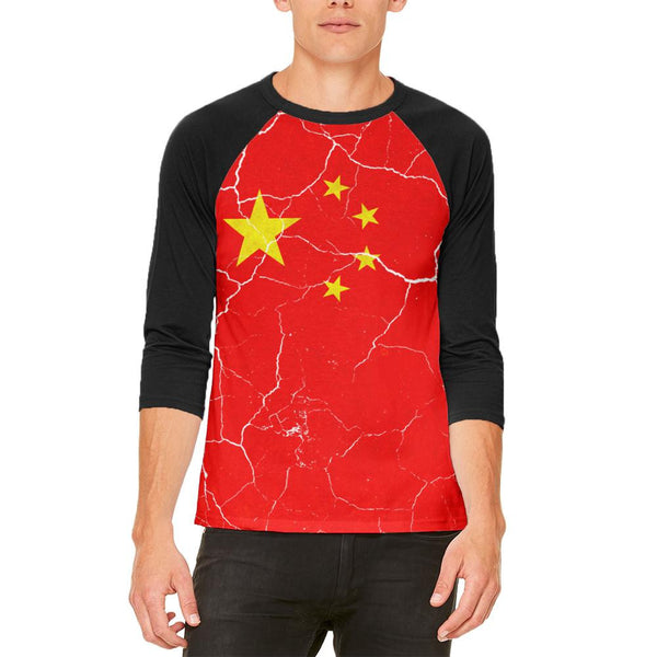 Distressed Chinese Flag Mens Raglan T Shirt