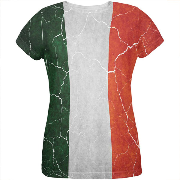 Distressed Irish Flag All Over Womens T Shirt
