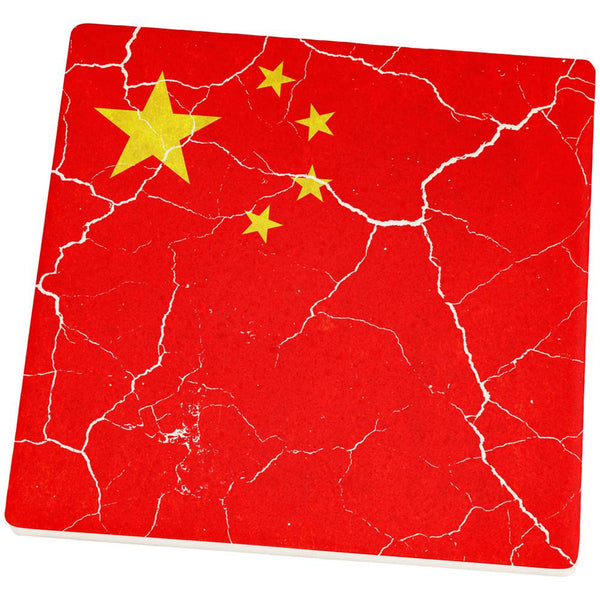 Distressed Chinese Flag Square Sandstone Coaster